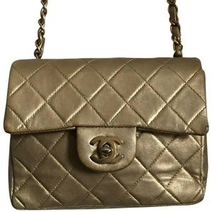 Chanel Mini Flap Gold Lambskin Leather Cross Body